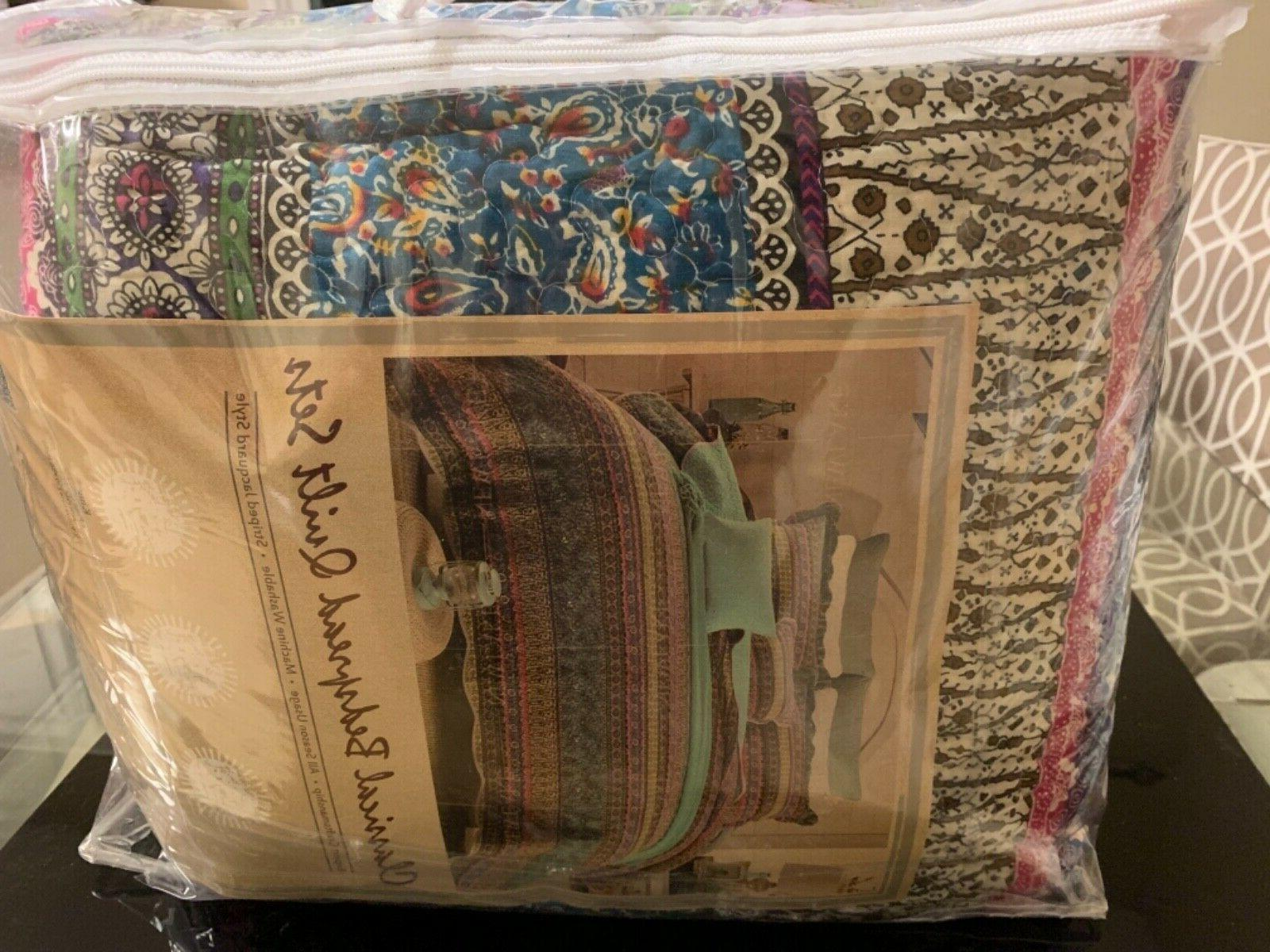 new 3 piece colorful quilt set queen