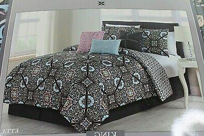 new 7 piece comforter set king black