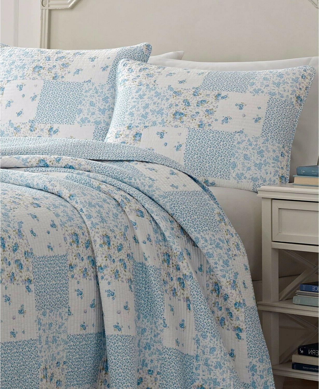 NEW BAG Laura Ashley 3 Piece Kenna Blue Quilt Patchwork King