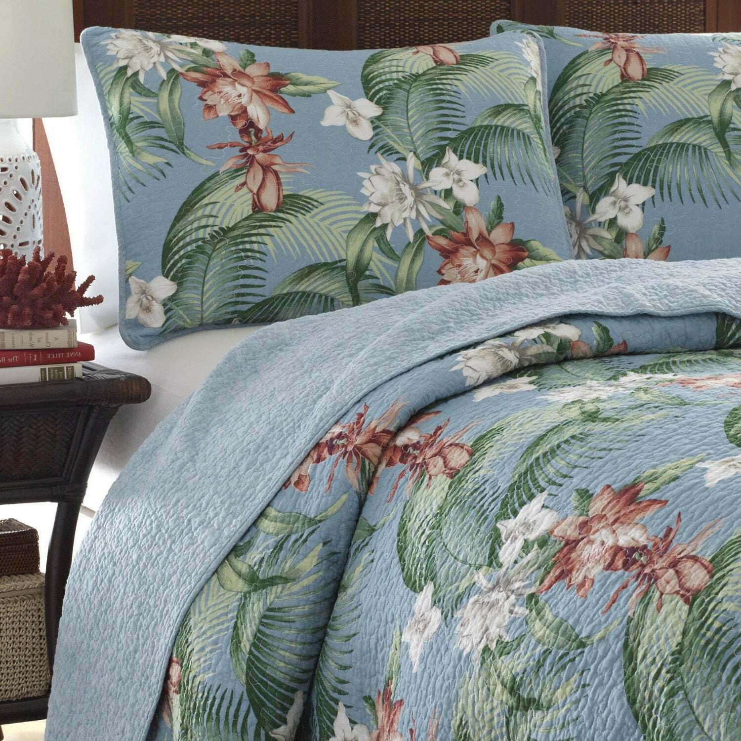 Bahama Breeze Aqua King Quilt Shams Incl