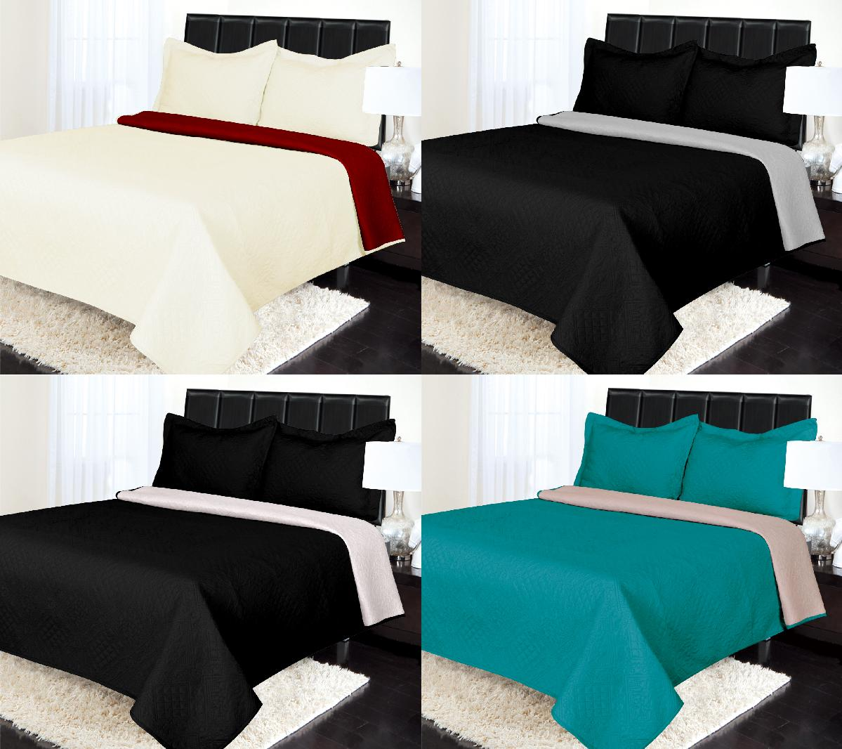 NEW REVERSIBLE PINSONIC 2-SIDED QUILT SET BEDDING BEDSPRED D