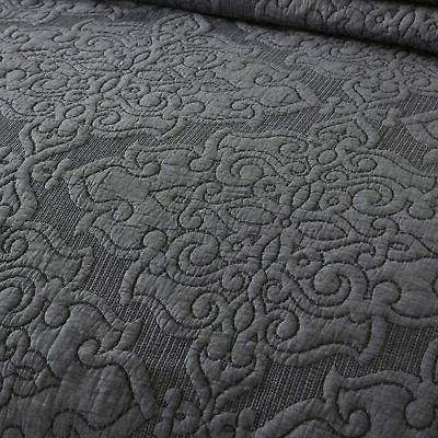 NEWLAKE Coverlet Floral,Grey, Q