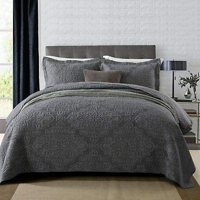 newlake reversible quilt bedspread coverlet set jacquard
