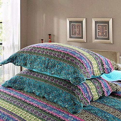 NEWLAKE Style Cotton 3-Piece Patchwork Quilt Sets,