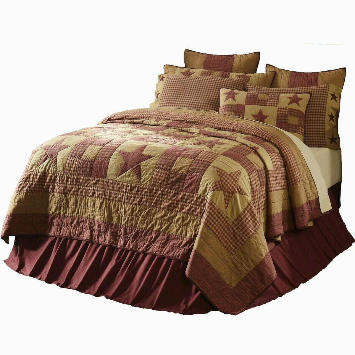 Ninepatch Star Burgundy & Tan LUXURY KING Quilt Set Choices