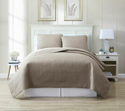 oversized solid grid bedspread quilt set