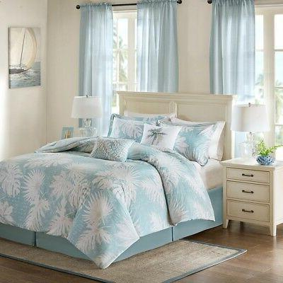 palm grove cotton printed piece comforter set blue queen