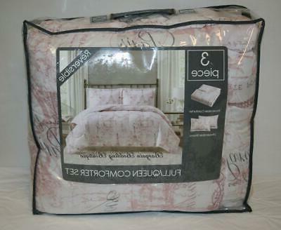 paris full queen comforter set pale pink