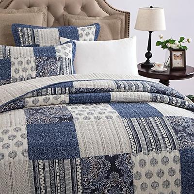 Patchwork Blue Elegance Cotton Bright