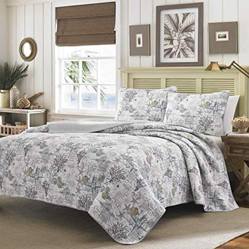 piece classic blue grey beige white king quilt set beach the