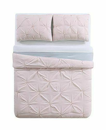 Laura Pleated Reversible Comforter Set, Full/Queen, Blush/Silver Grey