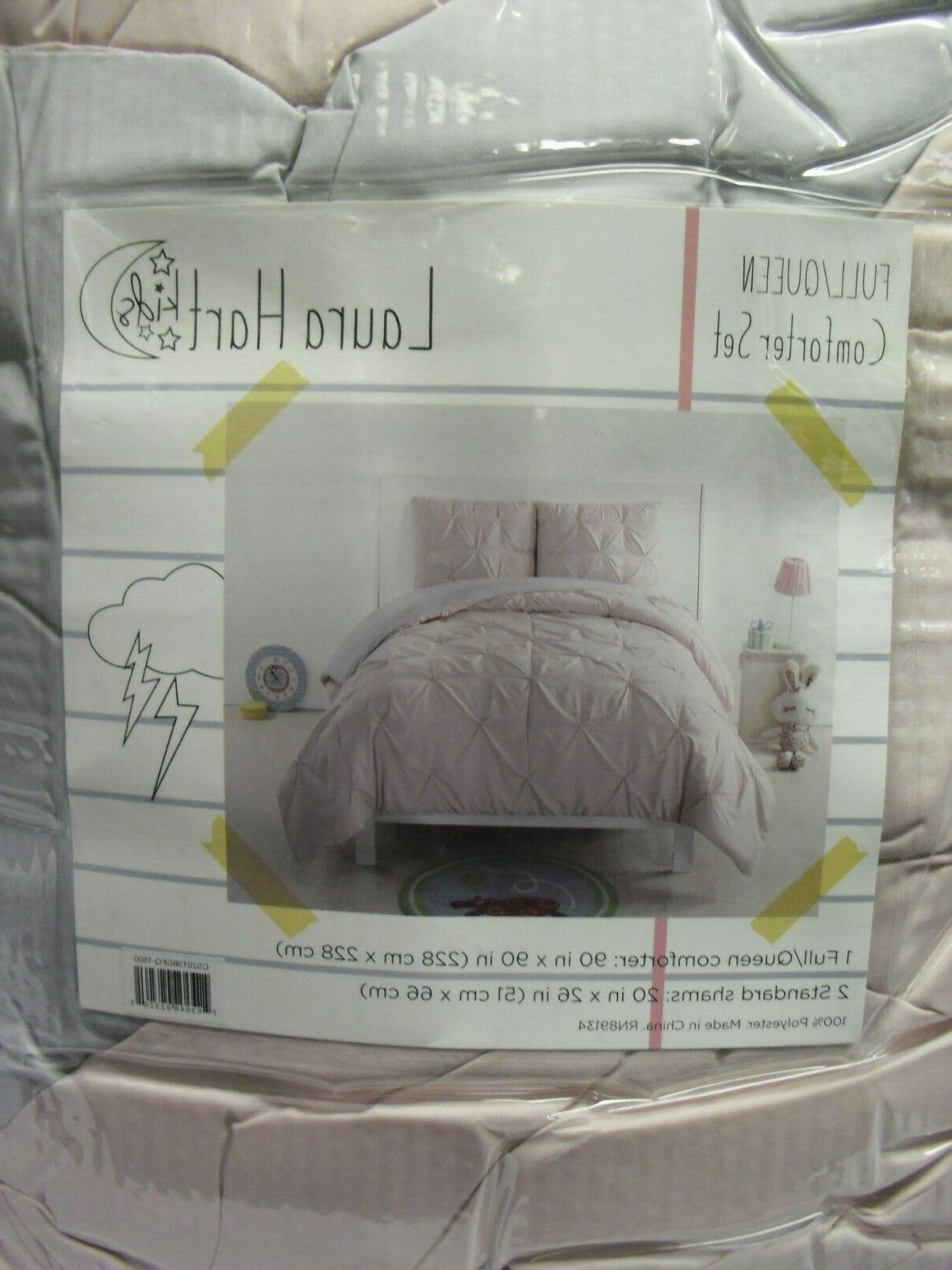 pleated reversible comforter set full queen blush