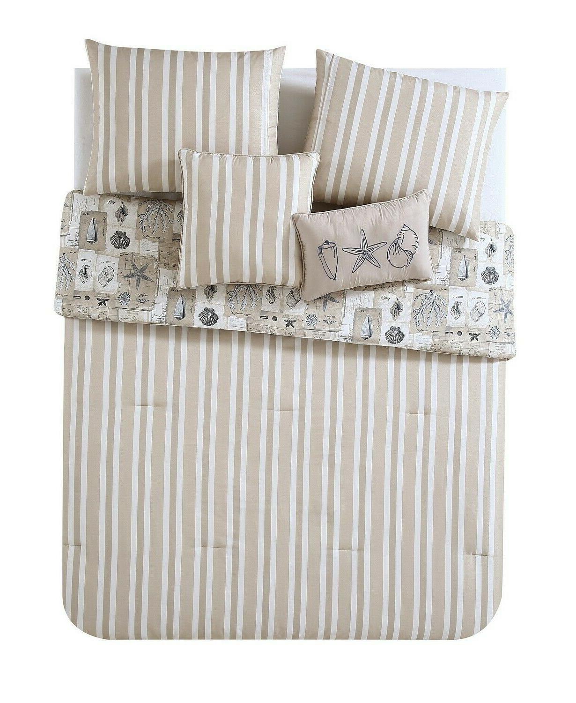 VCNY Home Stripe Seashell Reversible Comforter Set KING Taupe