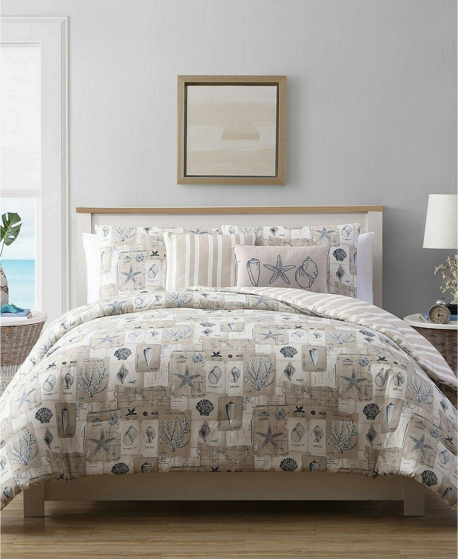 polygalon 5 pc stripe seashell reversible comforter