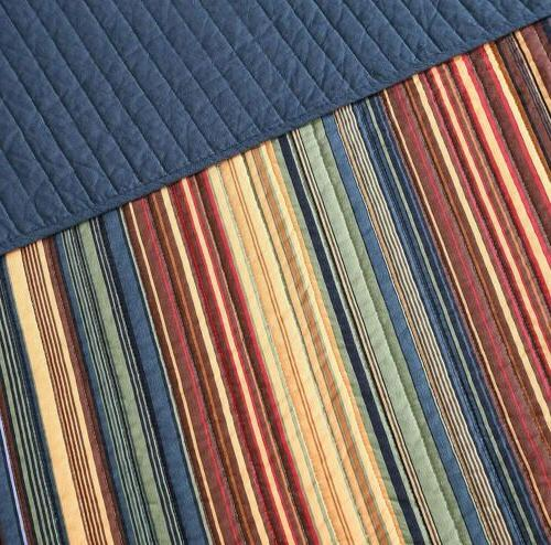 Pre-Washed Cotton Set Multi-Striped Coverlet