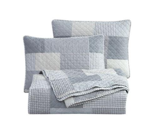 pre washed quilt set plaid patchwork bedspread
