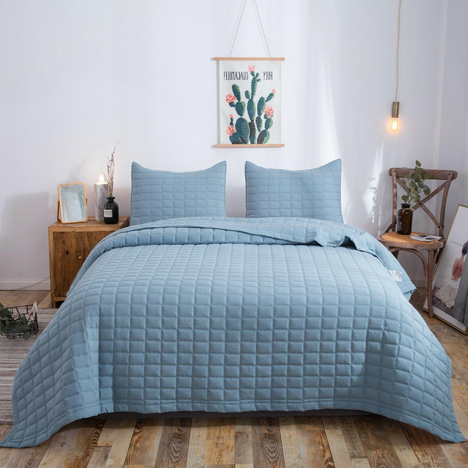premium stone washed quilt set detailed stitching