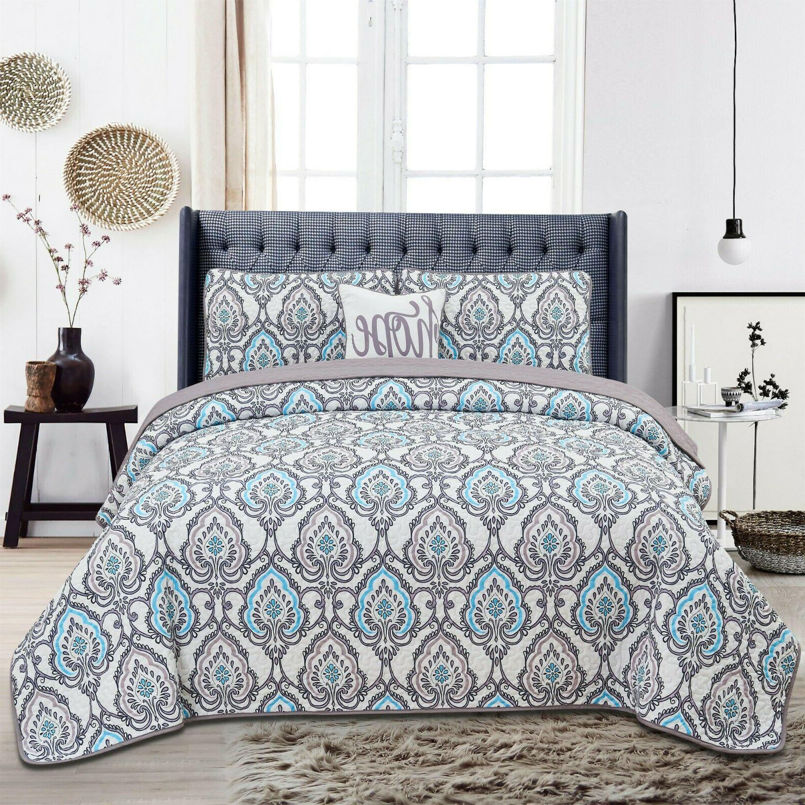 Queen Quilt Bedding Set Printed Pattern 4 Piece Quilt Set Ki