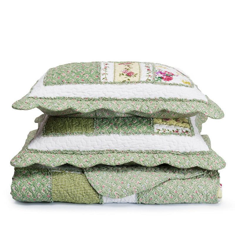 Printed Quilt Bedspread All Size Green Ruffle bedding set