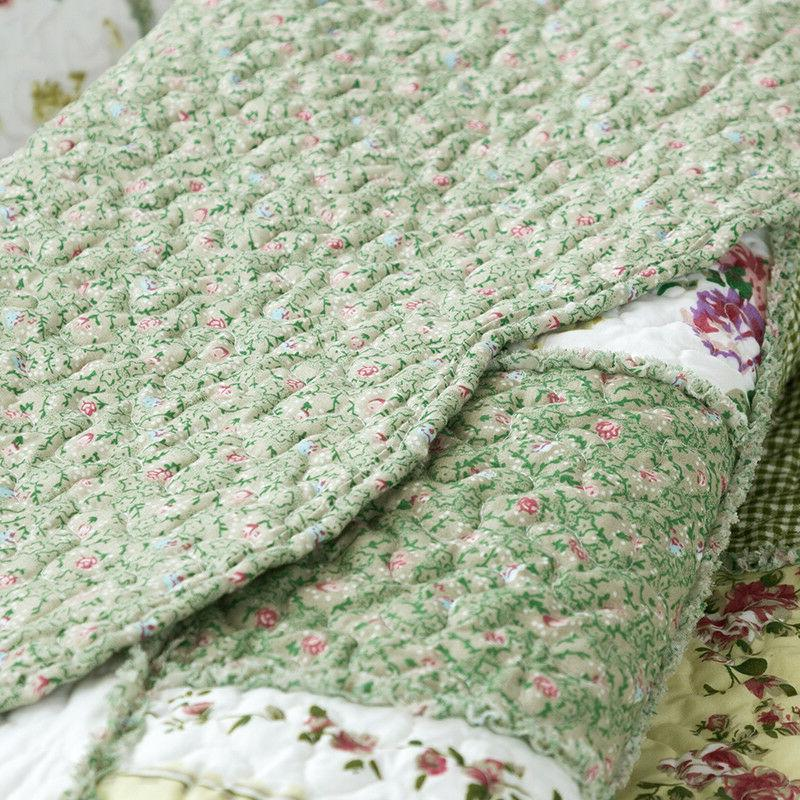 Printed Quilt Bedspread Ruffle