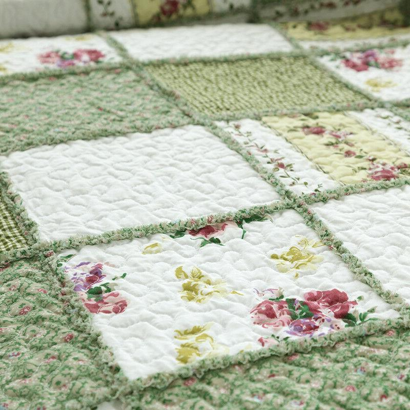 Printed Coverlet Set Bedspread Green Ruffle bedding set