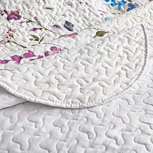 Bedsure Printed Set King Lilac Pattern Hypoallergenic Microfiber Bouquet