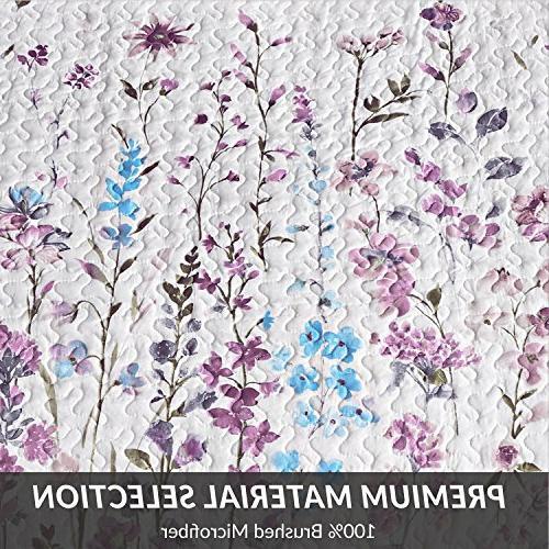 Bedsure Printed Quilt Set Lilac Pattern Lightweight Hypoallergenic Microfiber Bouquet