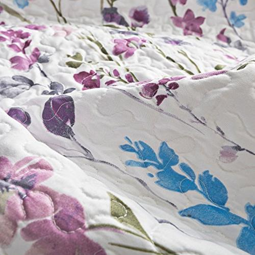 Bedsure Set Full/Queen Lilac Floral Bouquet