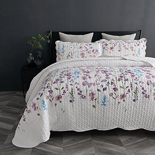 Bedsure Quilt Set Floral Pattern Lightweight Hypoallergenic Microfiber Bouquet
