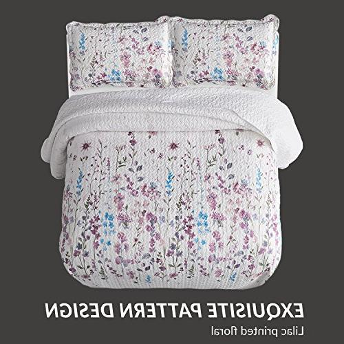 Bedsure Coverlet Set Pattern Lightweight Hypoallergenic Bouquet