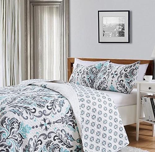 Great Bay Printed Quilt Set Shams. All-Season Cotton-Polyester with Ornamental Geometric Lauretta
