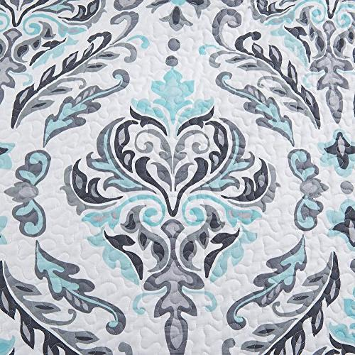 Great Home 3-Piece Printed Quilt Shams. All-Season Cotton-Polyester Lauretta