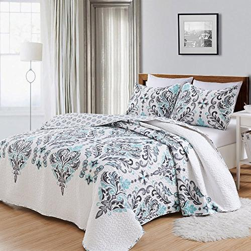 Great Home 3-Piece Printed Quilt Shams. All-Season with Ornamental Lauretta Collection