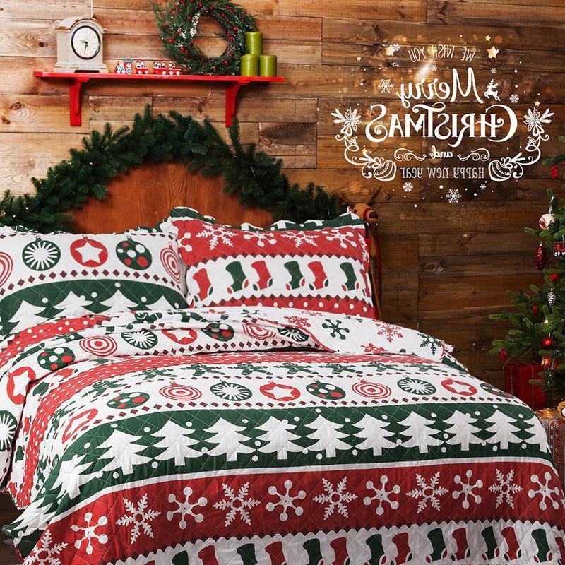 printed quilt set bedspread christmas pattern microfiber