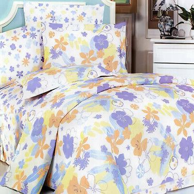 purple orange flowers 100 percent cotton 5pc