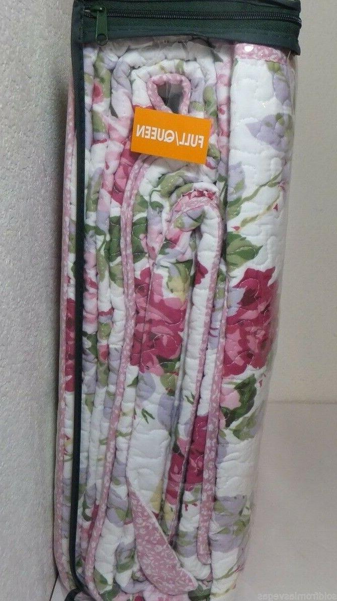 NEW Laura 3pc FULL/QUEEN LIDIA White/Pink-Multi Floral