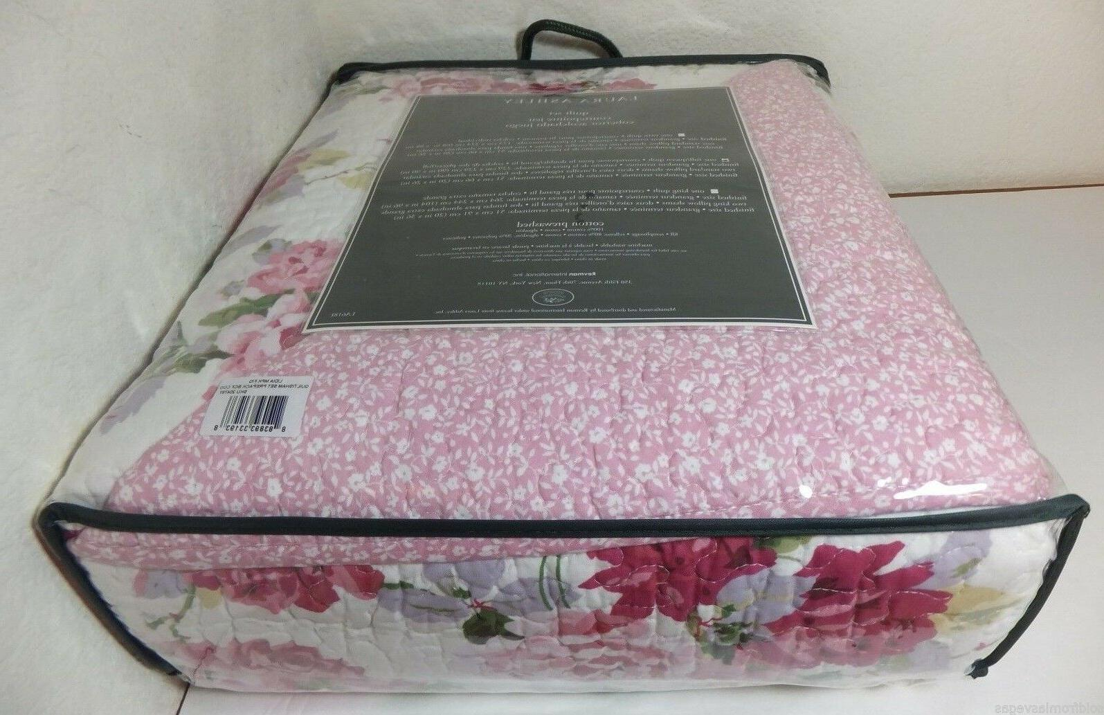 NEW Laura Ashley FULL/QUEEN Quilt LIDIA White/Pink-Multi
