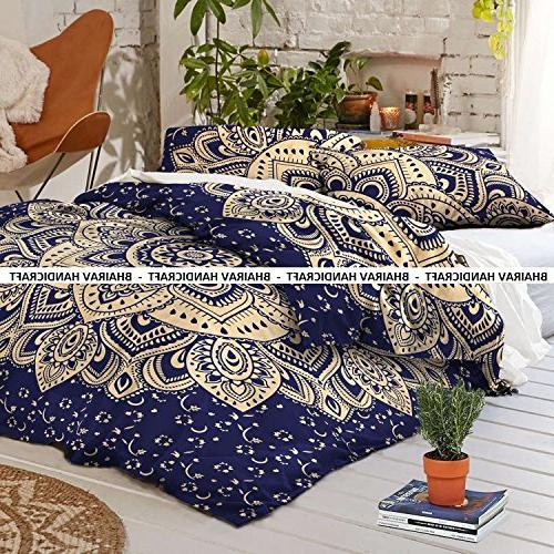 queen indian cotton mandala blue