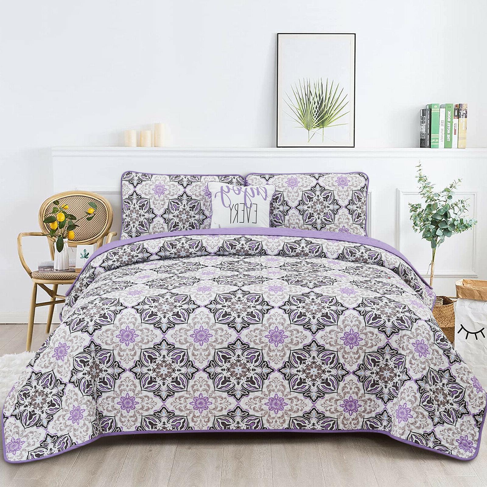 Quilt 4 Piece Bedspread Queen King Size Down Alternative Cov