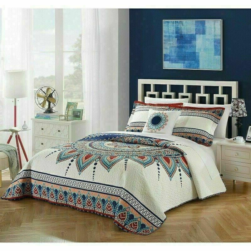 Queen Quilt Set Bedding Bohemian Boho Eclectic Farm Abstract