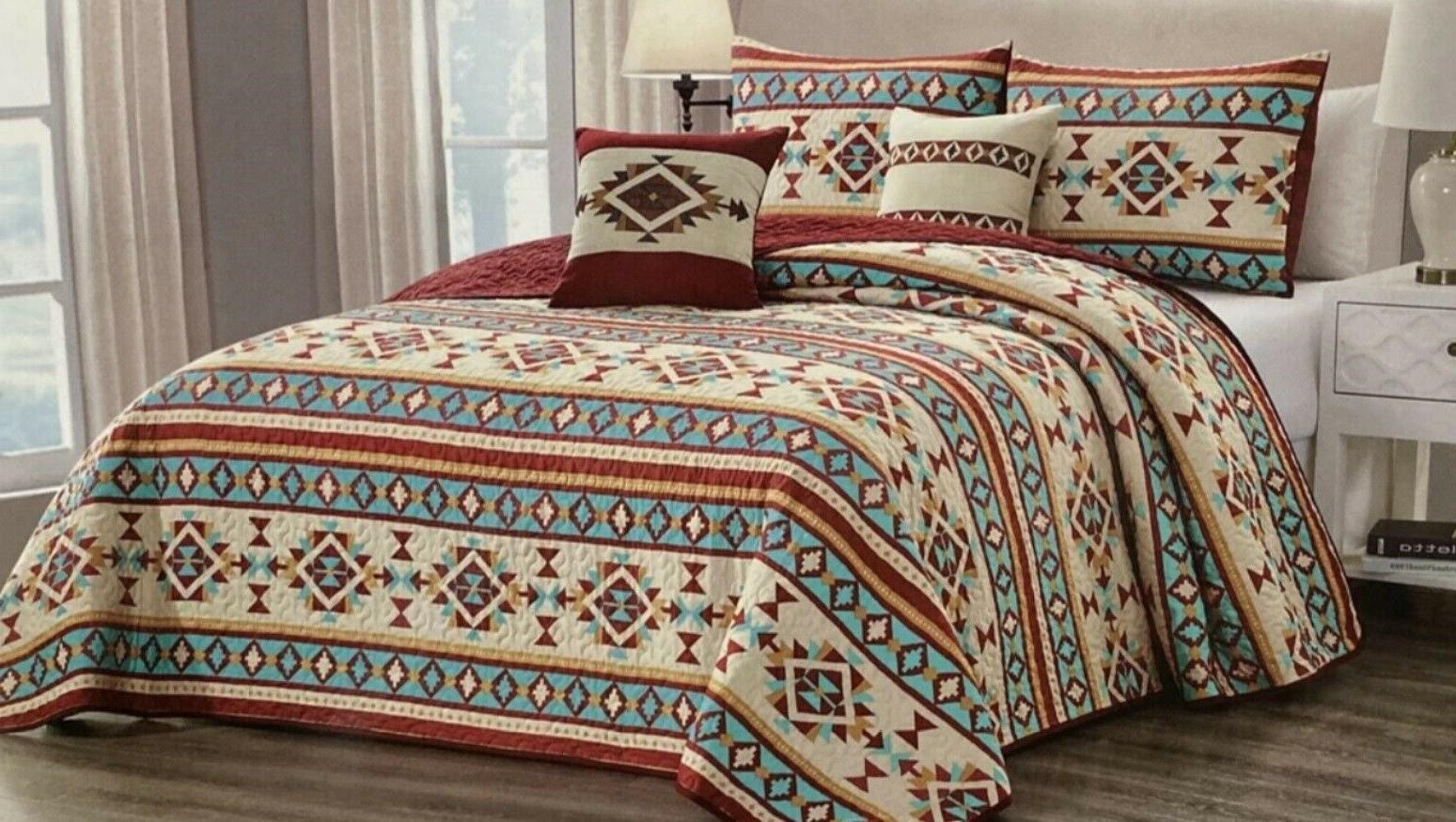 Quilt Reversible Southwest Aztec Lodge Bedspread King Gift