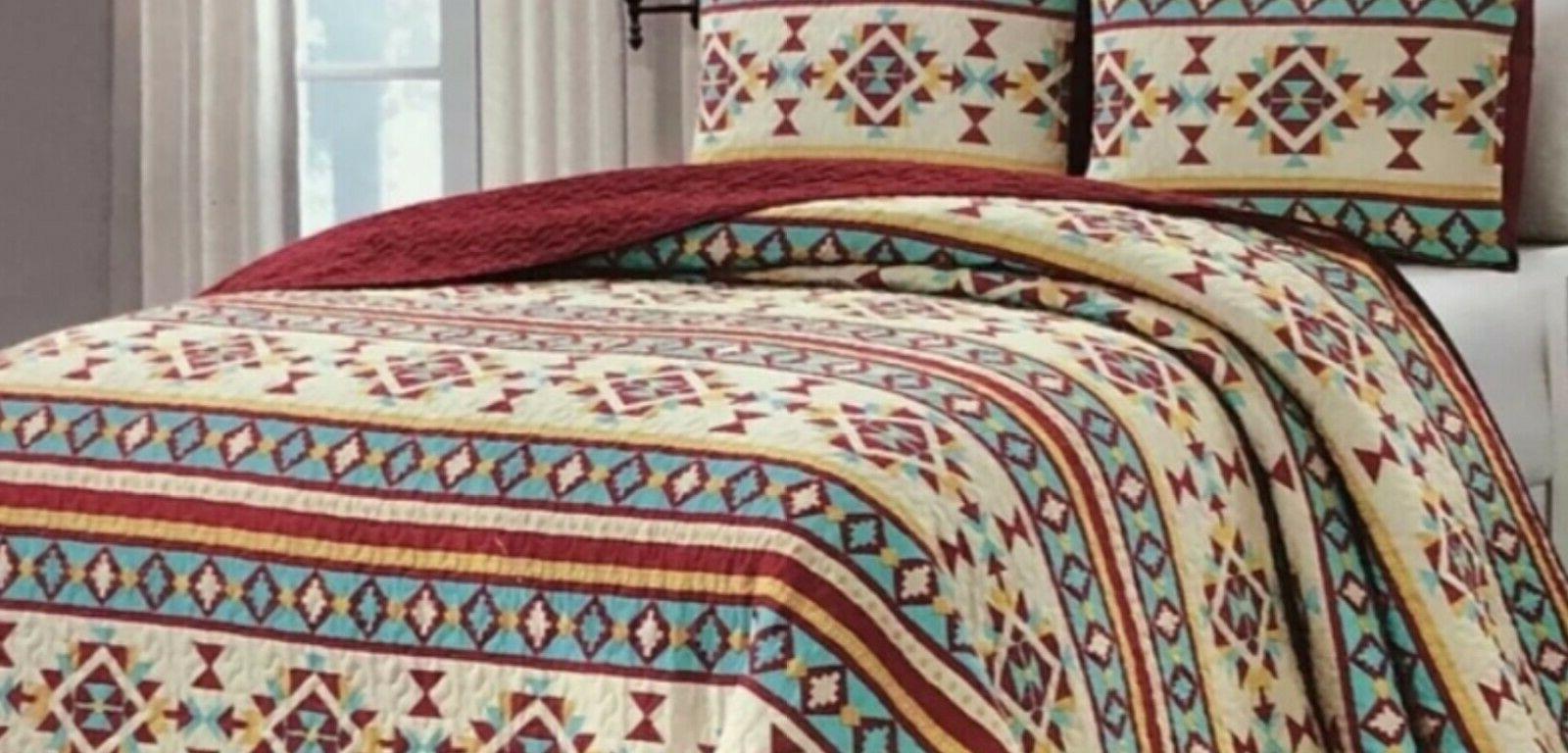 Quilt Reversible Aztec Bedspread Set Queen Gift