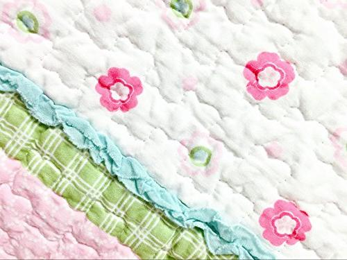 Cozy Pink Green Blue Flower 100% COTTON Coverlet,Gifts for