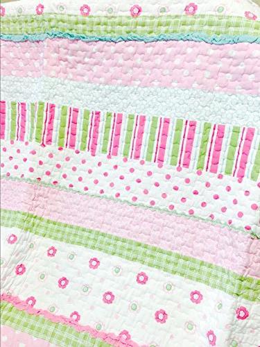 Cozy Home 5-Piece Greta Pastel Pink Blue 100% Bedspread for Kids Girls