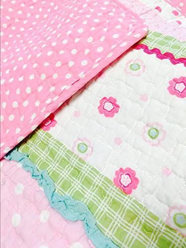 Cozy Line Fashions 5-Piece Quilt Greta Pastel Polka Dot Pink 100% COTTON Bedspread Coverlet,Gifts for Kids