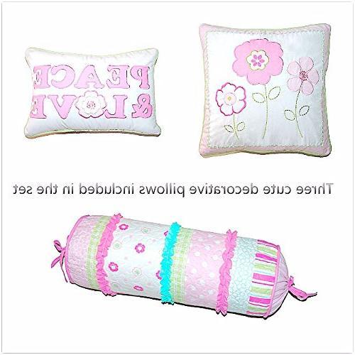 Cozy Line Home Fashions 5-Piece Quilt Set, Greta Pink Green Blue 100% COTTON