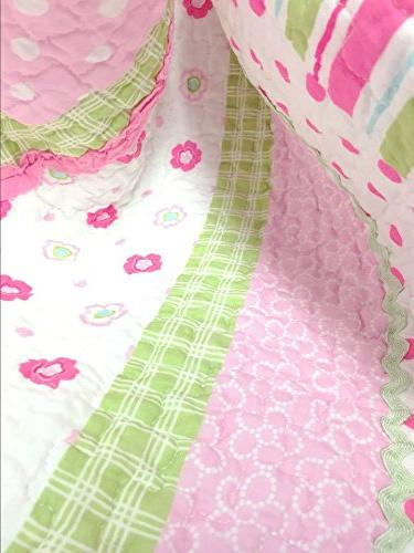 Cozy 5-Piece Bedding Set, Greta Pastel Polka Dot Pink Green Blue Flower 100% COTTON for