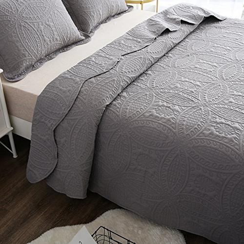 NEWLAKE 3 Bedspread Coverlet Coins Pattern, Size