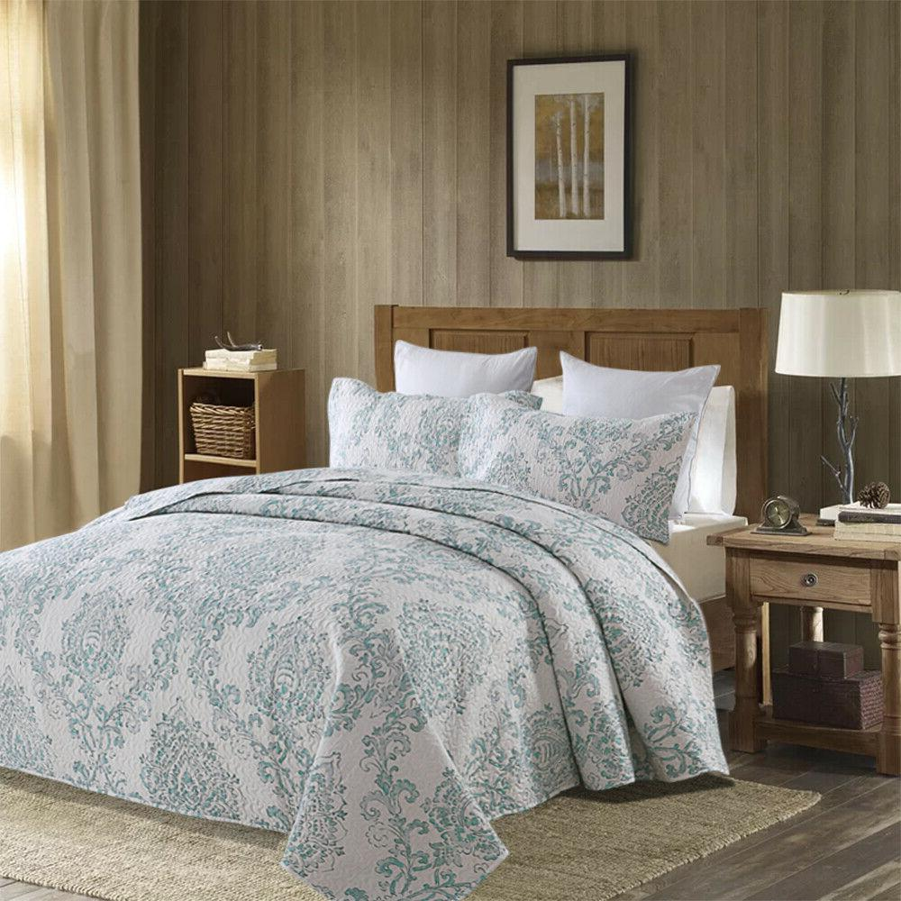 Quilt 3 Pieces Brushed Printed Bedspread Coverlet