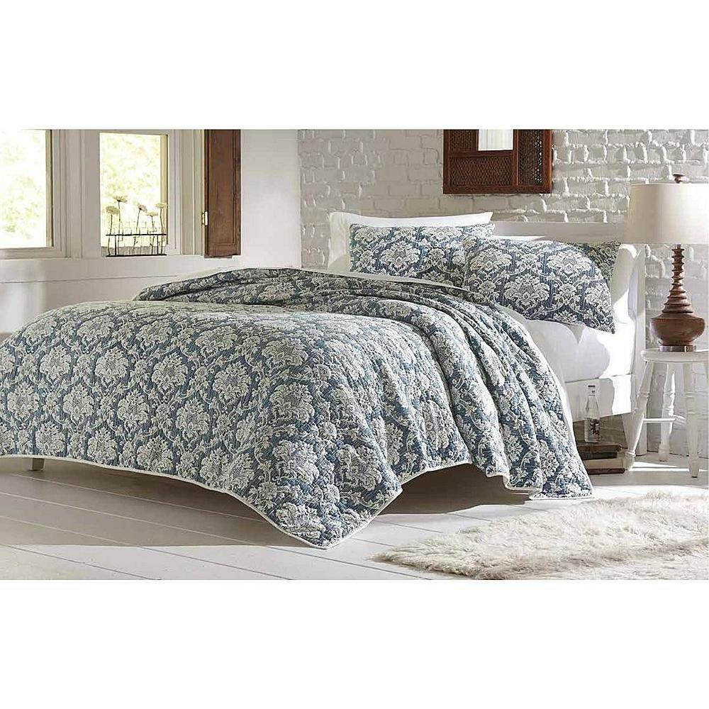 quilt set 3pc damask denim soft white